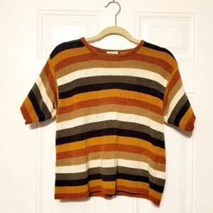 Vintage Pumpkin Vibes Striped Fall Sweater L